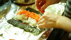 Making home made sushi Stock Footage