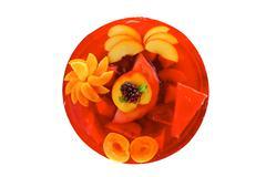 fruits jelly cake and nectarine - stock photo