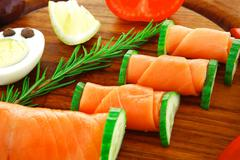 salmon on wood - stock photo