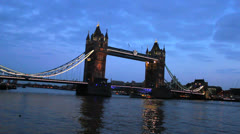 Thames River at dusk. A tourist vessel sails through the Thames River. London 6 Stock Footage