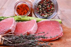 prime fillet meat : dry raw beef - stock photo