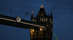 Close up low angle view of the top of Tower Bridge. London, UK. 7 - stock footage