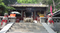 Incense Burns at an Altar on Mount Tai-shan (泰山) Tai-an (泰安) Shandong 山东 Stock Footage