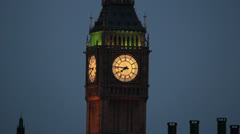 Big Ben clock, close-up.  Night view of The House of Parliament, London, UK 5 Stock Footage