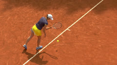 Tennis girl blue yellow serve forehand 01 Stock Footage