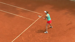tennis girl green red forehand 02 - stock footage