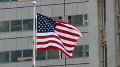 Downtown American Flag Stock Footage