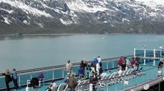Cruise ship deck passengers Glacier Bay Alaska HD 1434 Stock Footage