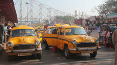 Old retro taxi rank overall plan India  Stock Footage
