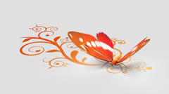 Butterfly on ornate background Stock Footage