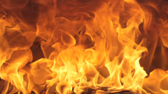 Red hot flames burning in fireplace Stock Footage