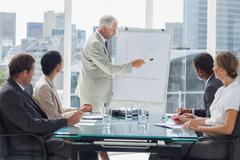 Stock Photo of Businessman pointing at a growing chart during a meeting