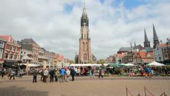 Flowermarket in Delf, Holland Stock Footage