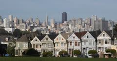 Ultra HD 4K Famous Victorian Row Houses Francisco Skyline Painted Ladies Stock Footage