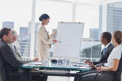 Stock Photo of Businesswoman pointing at a growing chart during a meeting