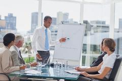 Stock Photo of Manager pointing at a growing chart during a meeting