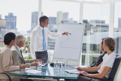 Stock Photo of Manager pointing at the peak of a chart during a meeting
