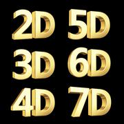 Golden dimension symbols isolated on black. Stock Illustration