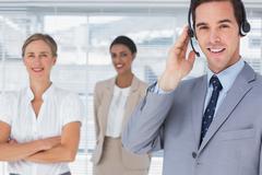 Stock Photo of Businessman wearing headset
