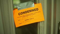 Condemned condemn house door Stock Footage