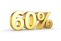 golden 60 percent  isolated - stock illustration