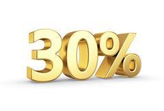 Stock Illustration of golden 30 percent  isolated