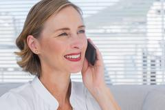 Portrait of businesswoman calling in a bright office Stock Photos