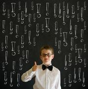 Thumbs up boy business man with chalk exclamation marks Stock Photos