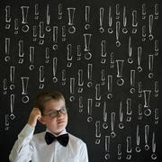 Scratching head thinking boy business man with chalk exclamation marks Stock Photos