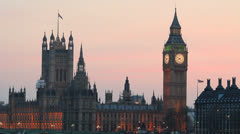 Big Ben House of Parliament and Westminster Bridge. London at dusk. England.  6 Stock Footage