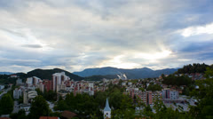 Wide shot of Velenje city with power plant in background Stock Footage