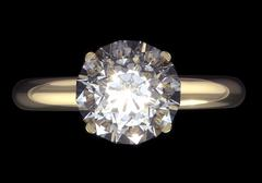 Diamond ring - isolated on black background with clipping path. Stock Illustration