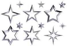 12 silver stars isolated with clipping path Stock Illustration