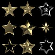 Golden stars collection isolated with clipping path Stock Illustration