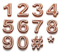 Gingerbread numbers isolated with clipping path Stock Illustration
