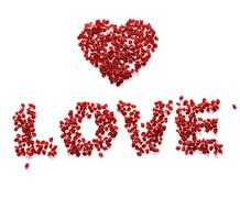 Love made from red rose petals - clipping path Stock Illustration