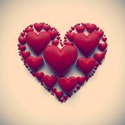 vintage heart illustration - isolated - stock illustration