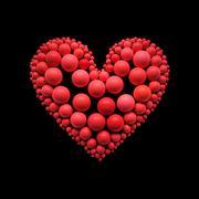 heart illustration on black - clipping path. - stock illustration