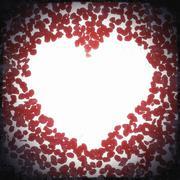 vintage red rose petals heart - stock illustration
