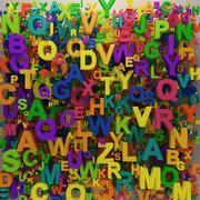 colorful 3d letters backgorund - stock illustration