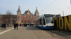 Amsterdam, Netherlands, Central Station - 2. Tram Stock Footage