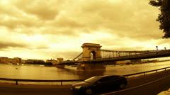 Budapest chain bridge skyline Stock Footage
