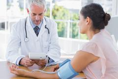 Stock Photo of Doctor measuring blood pressure of a patient
