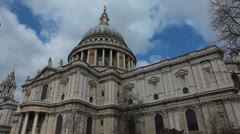 St Paul´s Cathedral. Low angle. Sunny day with blue sky and clouds.  2 Stock Footage