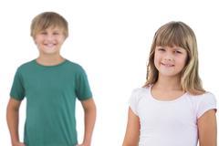 Happy little boy and girl - stock photo