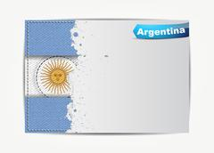 Stitched argentina flag with grunge paper frame for your text. Stock Illustration