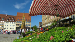 Nuremberg open main market grocery vegetable fruit vendor stall Stock Footage