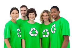 Group of environmental activists smiling Stock Photos