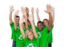 Group of environmental activists raising arms - stock photo