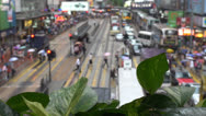Fast motion of Busy streets in Hong Kong in rainy day, China Stock Footage
